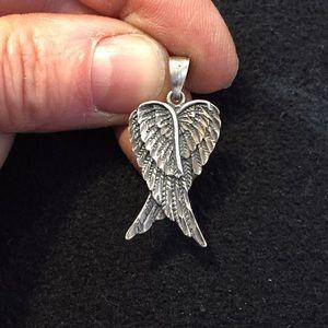 Sterling angel wings pendant